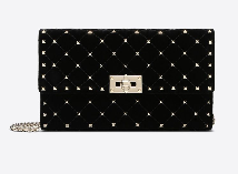 Valentino Velvet Rock Stud Spike Chain Clutch