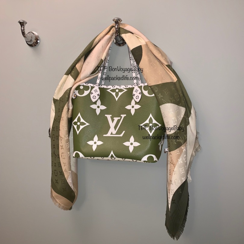 Louis Vuitton Giant Monogram Neverfull MM in Khaki with Kaleidogram Shawl